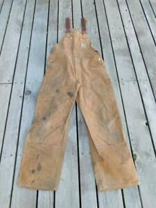 Vintage 80s Carhartt 34 x 30 Brown Duck Overalls Double Front Legs USA Made USED