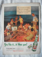 1954 VTG Orig Magazine Ad 7 Up Soda Drink Have A Picnic On The Beach At Night
