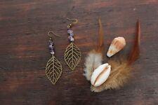 Beautiful Handmade Bronze Antique Large Leaf & Amethyst Stone Chip Earrings