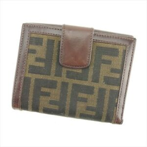 Fendi Wallet Purse Zucca Brown Beige leather Woman unisex Authentic Used P840