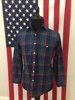 vtg Towncraft Blue Tartan Plaid Shirt men's MEDIUM normcore weird hipster 7831