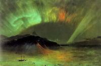 Oil painting frederic edwin church - aurora borealis rare wonderful landscape @@