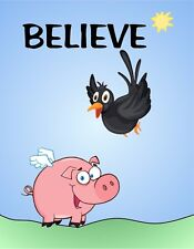 METAL MAGNET Bird Flying Pig Believes He Can Fly Believe Humor MAGNET