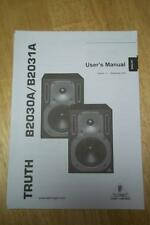 Owner/User Manual for Behringer Truth B2030A B3031A Reference Studio Monitor~Ger