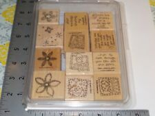 STAMPIN UP FLOWERS HEART WORDS CAKE ASSORTED SET OF 12 WOOD STAMPS EUC A7252
