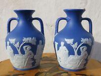 "Exquisite Matching Pair Wedgwood Dark Blue Jasper Ware 7"" Portland Vases, c.1840"