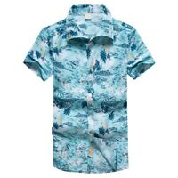 Mens Hawaiian Print Short T-Shirt Sports Beach Quick Dry Blouse Top Blouse 2019