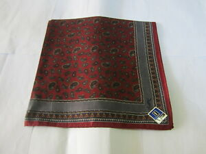 """USED DARK RED PAISLEY  PATTERN COTTON 18"""" HANDKERCHIEF POCKET SQUARE FOR MEN #1"""