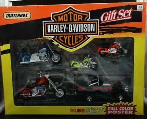 MATCHBOX SUPERKINGS  HARLEY DAVIDSON GIFT SET MINT BOXED WITH HILUX & 4 HARLEYS