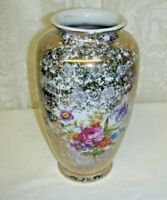 Vintage Urn Vase Pink Roses and Floral Design with Silver and Gold Overlay