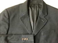 Armani Collezioni Mens Grey/Black Wool Blend Textured Striped Blazer 40R