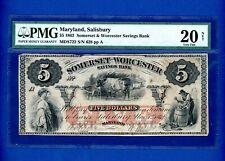 1862 $5 Somerset & Worcester Savings Bank Salisbury Maryland CIVIL WAR PMG 20 VF