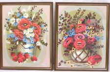 Vintage Mid Century Pair Framed PBN Paint By Numbers Matching Floral Still Lifes