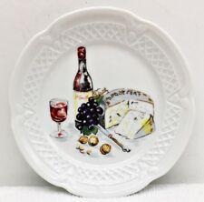 """Vintage Wine Cheese Canape Plate 5 5/8"""" Berry Haute Porcelaine L Lourioux France"""