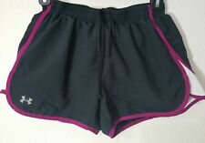 Under Armour Women's Black Purple Heat Gear Built-In Liner Shorts Size Small