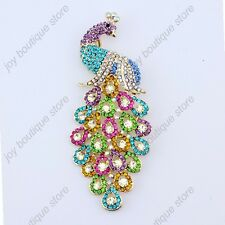 MultiColor Peafowl Peacock Animal Brooch Pin Austrian Crystal Fashion Jewelry