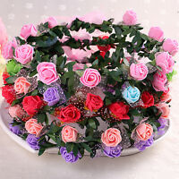 Girls Women Rose Flower Crown Headband Wreath Party Wedding Garland Headwear Js