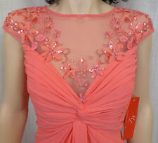 Authentic Sz. 4 ML Monique Lhuillier Illusion Drape Chiffon Coral Dress $998