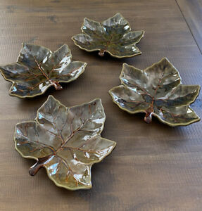 "Pottery Barn Leaf Plates Retired 4 Harvest Leaf 10"" Salad Plates Glazed Warm"