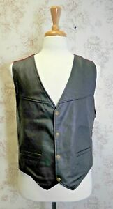 Men's Genuine Leather Waistcoat with Stud Buttons and Adjustable Back, Size L