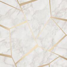 Fractal Géométrique Marbre Papier Peint Doré /Blanc - Fine Decor FD42265