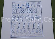 Ancien tampon scolaire métal mathématique calcul chiffre 8 compter 19*14cm AA075