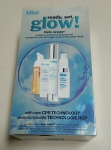 Bliss Triple Oxygen Ready Set Glow Radiance Enhancing Skincare Set New $92 Value