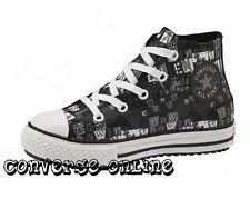 Kid Boy Girl CONVERSE ALL STAR PELLE NERA Mid Hi Top Stivali Formatori Taglia UK 13