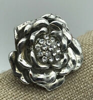 Large Silver Tone Flower Statement Ring Rhinestones One Size Stretch
