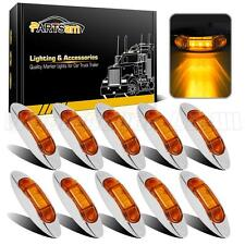 10pcs Amber Truck Trailer Side Fender Marker Clearance Light Chrome Bezel 3Led
