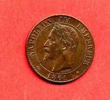 (BR.149) 2 CENTIMES NAPOLÉON III TÊTE LAURÉE 1861 BB BUSTE PROVISOIRE (SPL) RARE