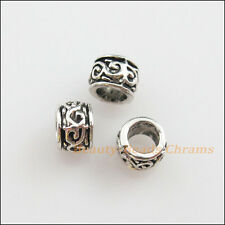 150Pcs Tibetan Silver Flower Round Tube Spacer Beads Charms 5mm
