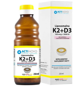 ActiNovo Liposomal Vitamin K2+D3 100mcg+2000 IU 250ml, Made in Germany, FREE P&P
