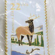American Elk Stamp Pin 22 Cent Usa Enamel Mammal Post Office Pinback Usps