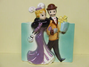 VHTF Vintage Man & Lady (Party Goers) Couple Planter (#4517)
