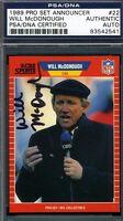 Will Mcdonough D.03 Cbs Psa/dna Certified 1989 Pro Set Authentic Autograph