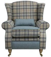 Arnold Fireside High Back Wing Armchair Wool Plaid Bamburgh Earth Eau De Nil