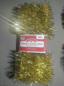 New ! 12 FT Tinsel Garland Christmas Holiday Decoration Red or Gold - You Choose