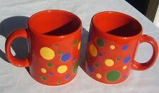 2 rare Waechtersbach Red 37 blue green yellow Polka Dots Coffee Mugs cups Spain