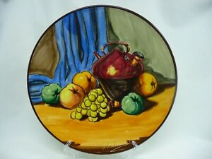 """Decorative 10 1/2"""" Wall Plate Made In Spain Signed G Montesinos Fruit Red Pot"""