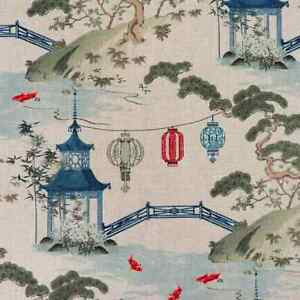 Grey Pagoda fabric by the Yard  Linen upholstery fabric  Linen Home Decor Fabric  Chinoiserie Upholstery Fabric  Asian Home Fabric