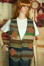 Womens J Gee Vest Multi Color Teddy Bear Embroider size L NWT