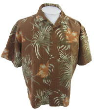 Joe Marlin Men Hawaiian camp shirt XL pit to pit 26 floral aloha brown luau tiki