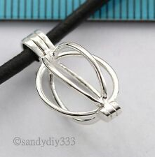 1x BRIGHT STERLING SILVER OVAL BALL WIRE BOX CHARM PENDANT 13mm x 11mm #2772
