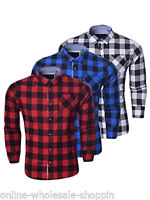 Mens Casual Check Brave Soul Long Sleeve Flannel Pure Cotton Shirt Size S M L XL
