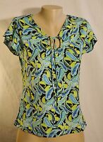 BOBBIE BROOKS Black/Blue/Green Paisley Print Top Small Cap Sleeves Unlined
