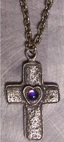 "Fantasy Necklace Cross, Heart & color changing Orb with 18"" chain NEW"