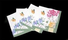 4 Lenox SENTIMENT Butterflies Flowers Green Border Cloth Napkins 19 x 19 NEW NWT