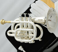 Professional Silver Plating Bb Pocket Trumpet Monel Valves + Case 2 Mouthpiece