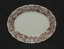 """Old Vintage Vine & Wheat Brown Leaves Grapes by Booths 14"""" Oval Platter England"""